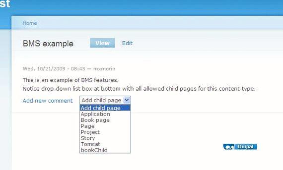 Drupal होस्टिंग में बच्चे पृष्ठ जोड़ें
