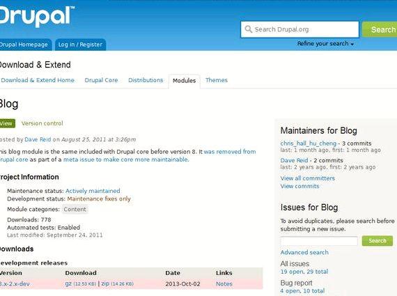 Tous les modules instances du site d'hébergement de la drupal