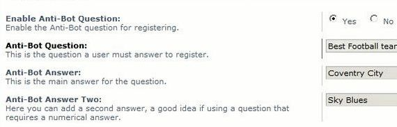 Anti bot question mod phpbb 3 forum hosting confirmation system