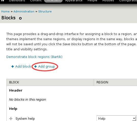 Blok sistem drupal utama hosting
