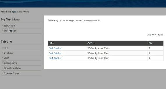 Categories list joomla hosting