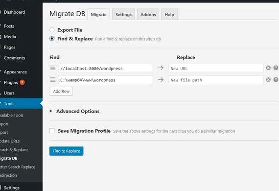 Datenbanksuche und ersetzen Skript Wordpress Hosting wurde übersetzt