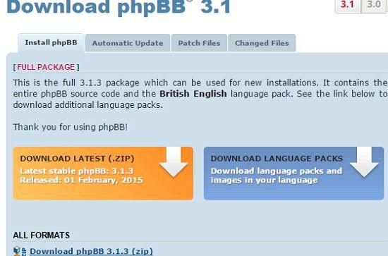 En linguagem phpbb hospedagem