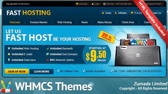 Schnelle Hosting WHMCS Vorlage nulled Wordpress