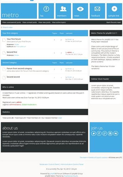 Free forum hosting Phpbb 3 template