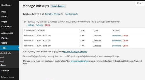 Hosting gratuito wordpress database di plug-in