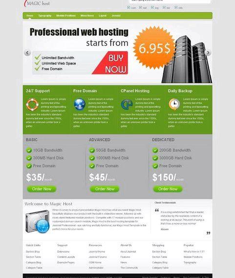 web hosting şirketi için ücretsiz joomla şablonları