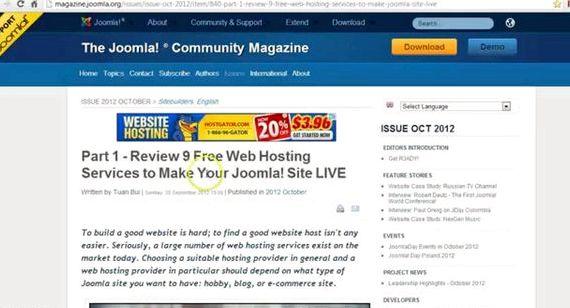 میزبانی وب رایگان جوملا