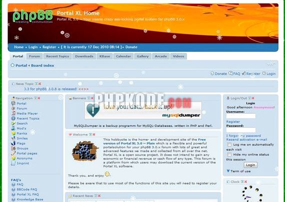 وب سایت میزبانی رایگان با پورتال phpBB و