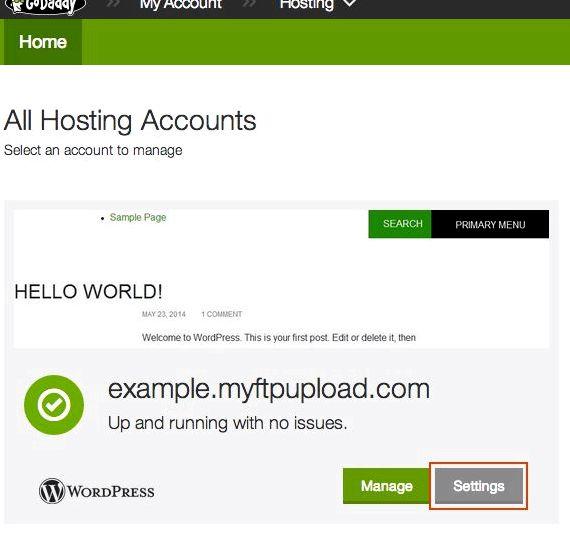domaine primaire GoDaddy de changement d'hébergement Réinitialiser votre wordpress site WordPress