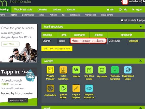 Hostmonster hébergement multi site wordpress réseau Outils