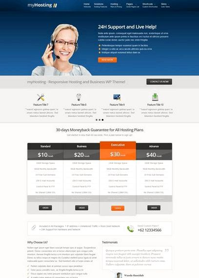 Html5 hosting template wordpress