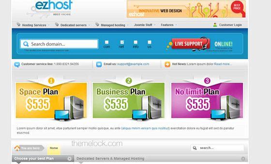 Vorlage kostenlos Joomla 2.5 E-Commerce-Hosting