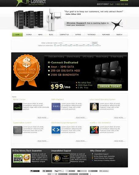 Joomla web hosting templates