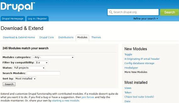 Drupal होस्टिंग में मॉड्यूल की सूची