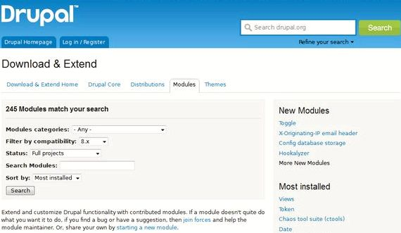Senarai modul di hosting drupal