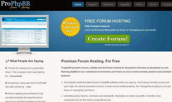 Phpbb free forum hosting site