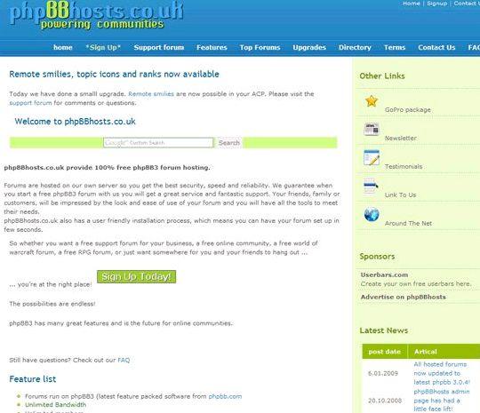 Phpbbhost fórum hospedagem de sites