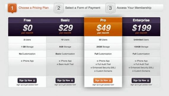 Pricing table joomla hosting