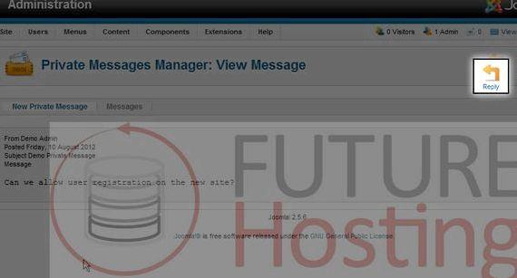 निजी संदेश प्रणाली Joomla होस्टिंग