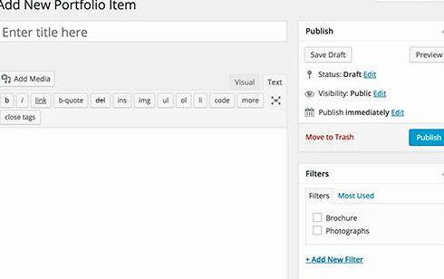 éléments du portefeuille liés hébergement wordpress