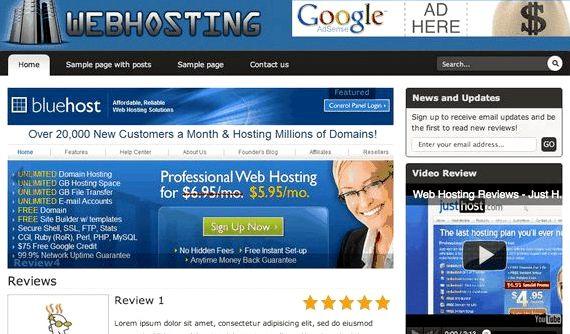 Web Hosting Recensioni wordpress tema vantaggioso per fare