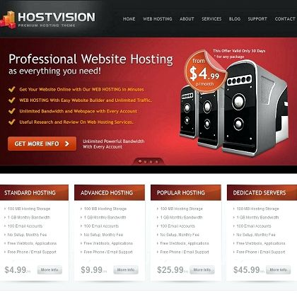 Website hosting free wordpress templates
