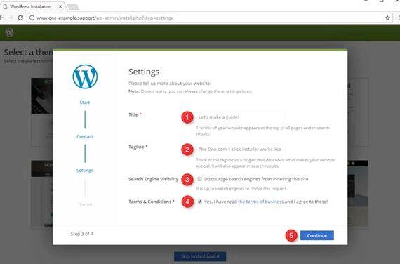 Wordpress 1 clic installer l'échange d'hébergement